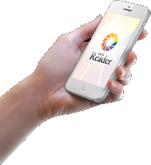 Hand holding a mobile phone with KNFB Reader logo on the screen